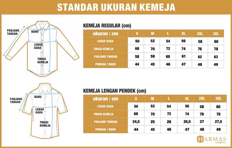standar ukuran kemeja baru